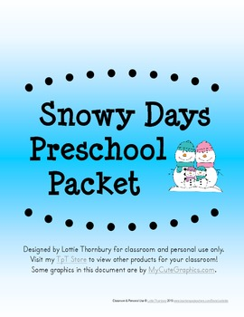 Snowy Days Packet Preschool Amp Early Elementary Printables