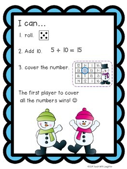 Snowy Fun Adding 10