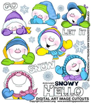 Snowy Hello Clipart