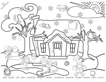 Snowy I Spy Winter Hidden Object Articulation Worksheets For Speech