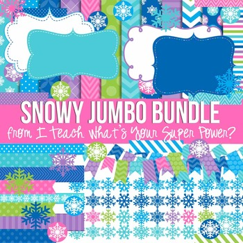 Snowy Jumbo Bundle Papers and Clipart