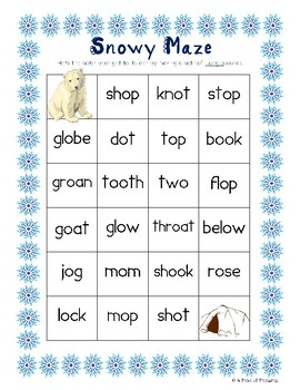 Snowy Maze with Long o Words