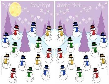 Alphabet ABC Match Game - Snowy Night