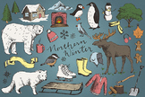 Snowy Northern Winter Hand Drawn Clipart Illustrations
