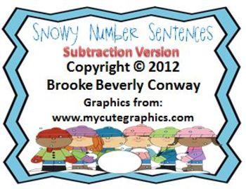 Snowy Number Sentences Freebie