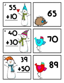 Snowy Numbers: Adding and Subtracting 10s with 2 Digit Numbers