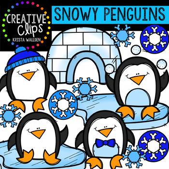 Snowy Penguins {Creative Clips Digital Clipart}