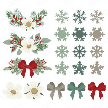 Snowy Pine Christmas Wreath Clipart, Papers & Vectors