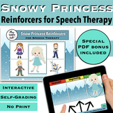 Snowy Princess Themed Reinforcer - Speech Therapy- Boom Cards