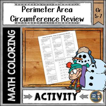 Perimeter Area Circumference Winter Review