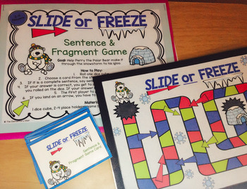 Sentences and Fragments - Slide or Freeze Grammar Game for Literacy Centers