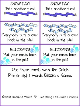 Snowy Sight Word Bingo and Blizzard Card Game