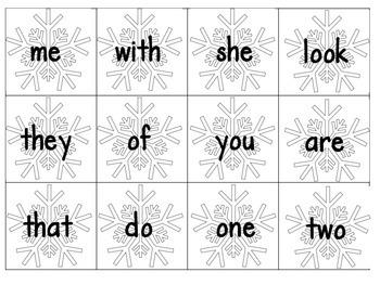 Snowy Sight Word Building
