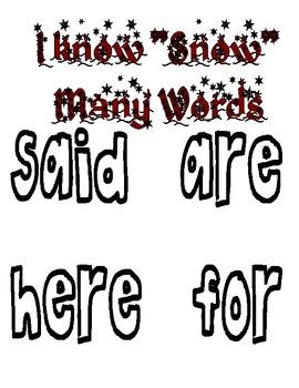 Snowy Sight Words & Sight Word Homework
