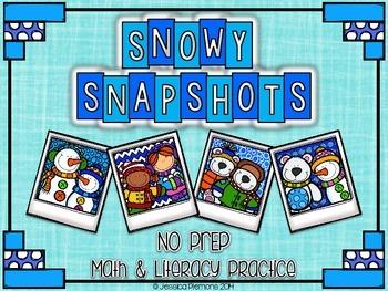 Snowy Snapshots: NO PREP Math & Literacy Practice