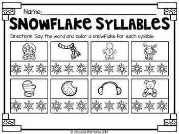 Snowy Snapshots: NO PREP Math & Literacy Practice {SAMPLE}
