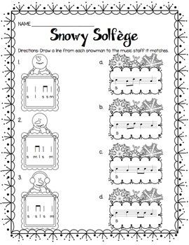 Snowy Solfege: Stick-to-Staff Notation Activities {La}