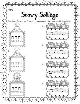 Snowy Solfege: Stick-to-Staff Notation Activities {Low So}