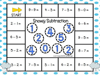 Snowy Subtraction:  NO PREP Weather Themed Bump Game