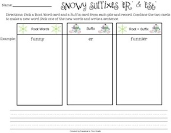 """Snowy Suffixes """"er"""" and """"est"""""""