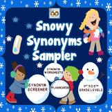 Snowy Synonyms Screener & Worksheet Sampler FREEBIE