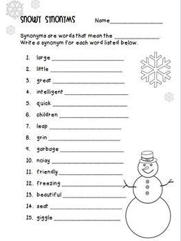 Snowy Synonyms {FREEBIE}