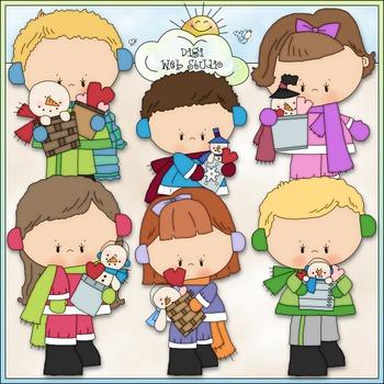 Snowy Valentine Kids Clip Art 1 - Valentine's Day Clip Art - CU Clip Art & B&W