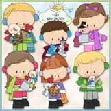 Snowy Valentine Kids Clip Art 1 - Valentine's Day Clip Art