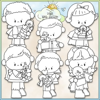 Snowy Valentine Kids Clip Art 2 - Valentine's Day Clip Art - CU Clip Art & B&W