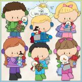 Snowy Valentine Kids Clip Art 2 - Valentine's Day Clip Art