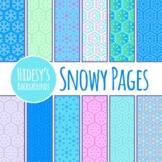 Snowy / Winter / Christmas / Snowflake Digital Paper / Backgrounds Clip Art Set