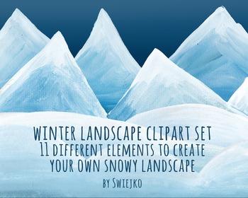Snowy landscape - clipart set