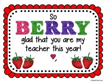 So BERRY Glad Gift Tag for Teachers and Students, First Day of School