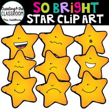 So Bright Stars Clip Art {Star Emotions Clip Art}