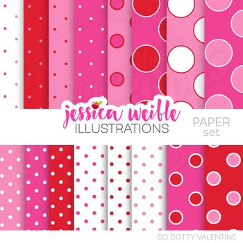 So Dotty Valentine Digital Papers, Pink Red Papers