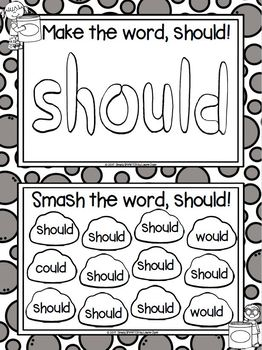 LOW PREP Play Dough Build a Sight Word and Smash It Mats