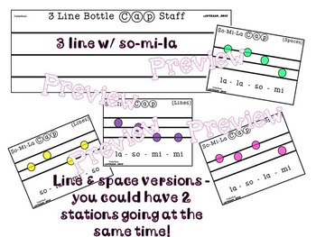 So-Mi-La Bottle Cap Staff and Cards (2 & 3 Line Staff)