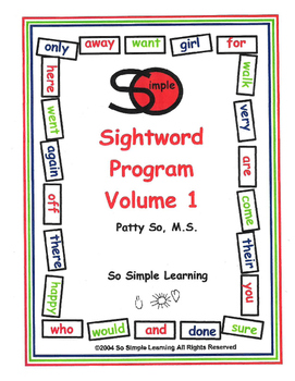So Simple Sightwords Volume 1