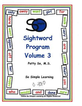 So Simple Sightwords Volume 3