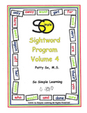 So Simple Sightwords Volume 4