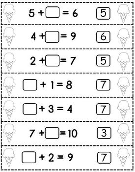 So Sweet! Math Cut & Paste Sorts - Addition/ Subtraction/ Missing Addends