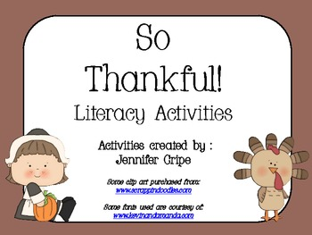 So Thankful ~ Literacy Activities for 1st Grade