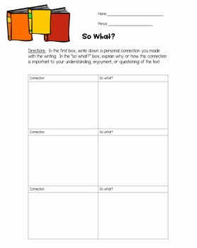 So What?  Reading Strategy Activity