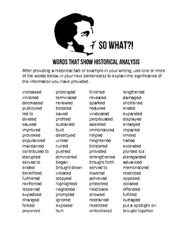 So What? Words the Show Historical Analysis Reference Handout