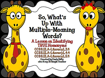So, What's Up with Multiple-Meaning Words? (True Homonyms)
