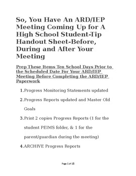 So, You Have An ARD/IEP Meeting Scheduled
