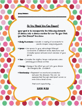 So You Think You Can Dance? Group Dance Routine Checklist