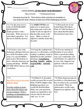 So You Want to Be President? Choice Board and Story Questions
