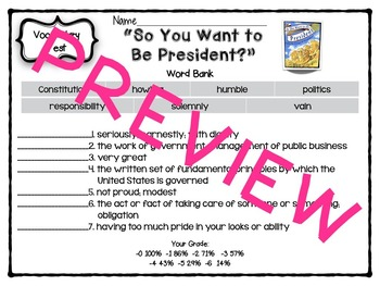 So You Want to Be President? {Reading Street 4th Grade} -