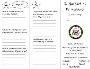 So You Want to Be President Trifold - Reading Street 4th Grade Unit 2 Week 5